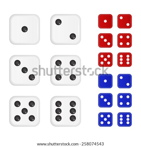 set of dices in three different
