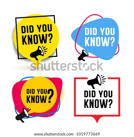 Set of did you know. Badge with megaphone icon label. Vector illustration. Isolated on white background