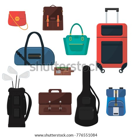 set of difenent bags suitcase
