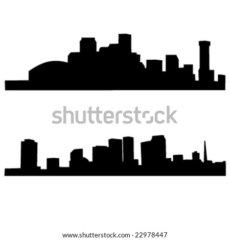 set of 2 diferents new orleans skylines