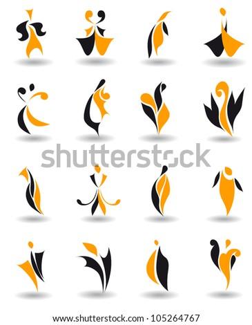 Set of 16 different abstract emblem logo for design (vector version eps 8)