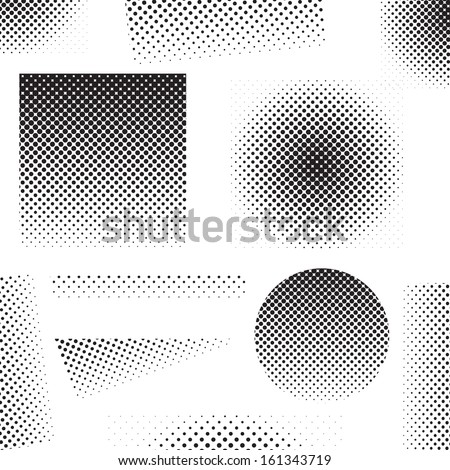 Set of different abstract halftone art elements (vector illustration)