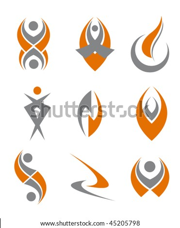 Set of different abstract symbols for design - also as emblem or sign or logo template. Jpeg version is also available