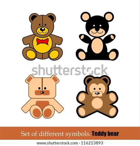 Set of different abstract symbols for design. toy teddy bear. vector