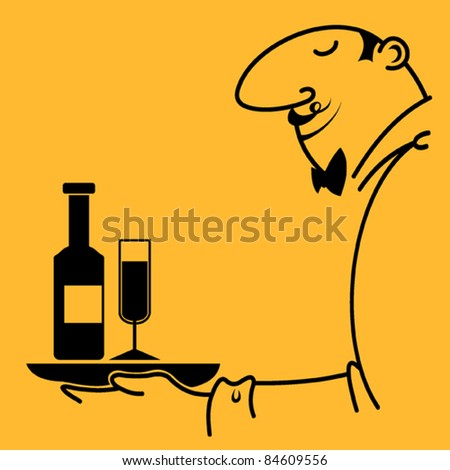 Set of different abstract symbols for design. waiter with a tray and wine. Vector image