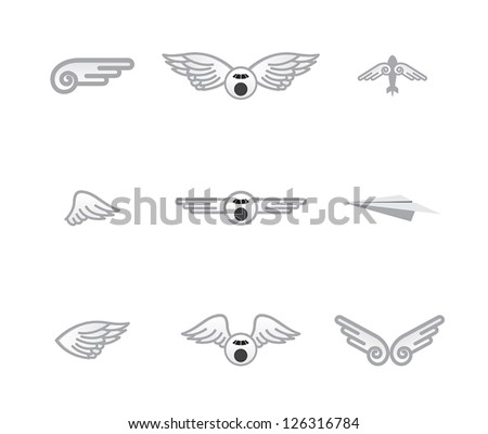set of different airplane� logos
