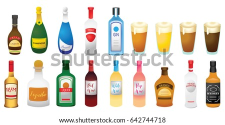 set of different alcohol