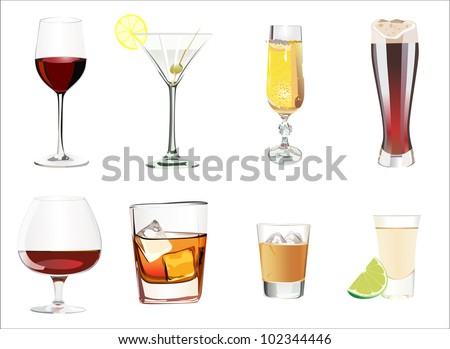 set of different alcoholic