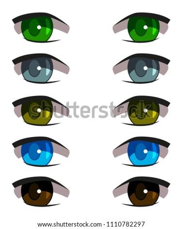 Stock Photo set of different anime eyes, beautiful, with eyelashes