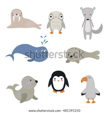 set of different arctic animals