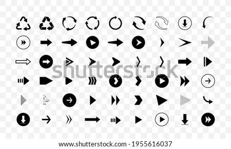 Set of different arrows isolated on checkered background. Vector icons. Arrow shapes. Stockfoto ©