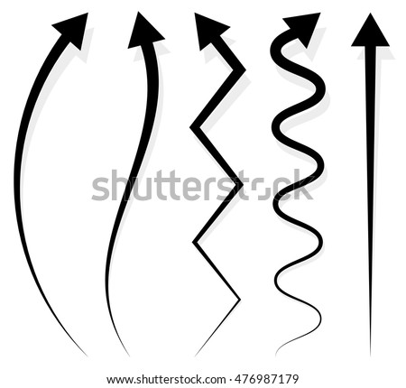 Set of 5 different arrows. Vector illustration