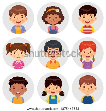 Set of different avatars of boys and girls are smiling on the gray circle flats. Set avatars portraits of boys and girls. Vector illustration