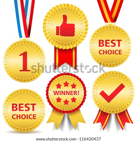 Set of different awards, vector eps10 illustration