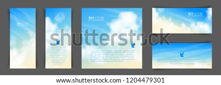 Set of different backgrounds with realistic beige-blue sky and cumulus clouds. The image can be used to design a banner, flyer and postcard. #1204479301