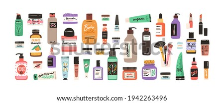 Set of different beauty cosmetic products for body, hair and skin care. Bundle of organic cosmetics and makeup items in bottles, tubes and jars. Colored flat vector illustration isolated on white