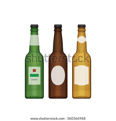 Set of different beer bottles. Types of beer. Flat design style, vector illustration.
