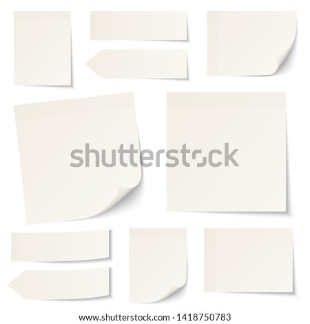 Set Of Different Beige Sticky Notes With Shadow