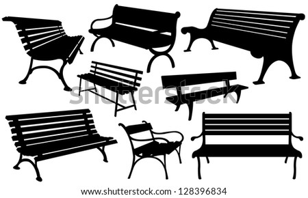 set of different benches - stock vector