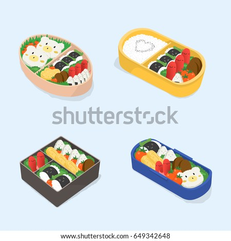 Set of different bento. Japanese lunch boxes collection. Funny cartoon food. Isometric colorful vector illustration.