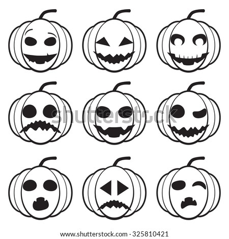 Set Of Different Black And White Pumpkins For Halloween Scary And
