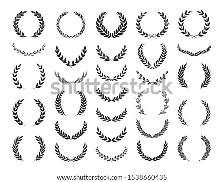 Set of different black and white silhouette circular laurel foliate, wheat and olive wreaths depicting an award, achievement, heraldry, nobility, emblem. Vector illustration.