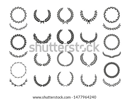 Set of different black and white silhouette circular laurel foliate, wheat, oak and olive wreaths depicting an award, achievement, heraldry, nobility, emblem. Vector illustration.