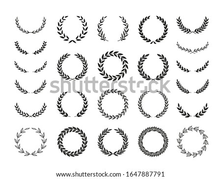 Set of different black and white silhouette round laurel foliate and olive wreaths depicting an award, achievement, heraldry, nobility, emblem. Vector illustration.