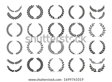 Set of different black and white silhouette round laurel foliate and wheat wreaths depicting an award, achievement, heraldry, nobility, emblem, logo. Vector illustration. Сток-фото ©
