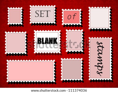 Set of different blank post stamps on red background. EPS10 vector