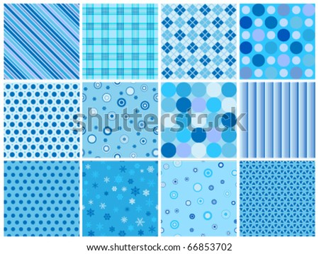 set of 12 different blue seamless winter patterns