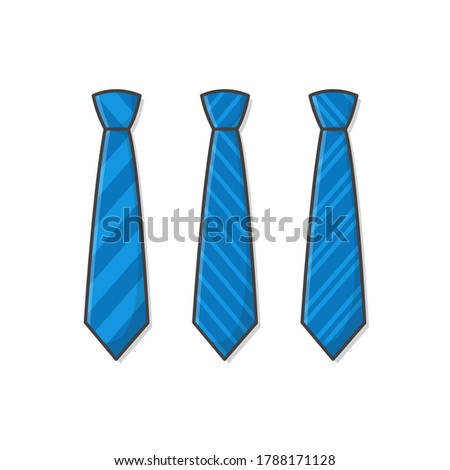 Set Of Different Blue Ties Vector Icon Illustration. Male Necktie, Men Fashion Style Trend. Necktie Flat Icon. Striped Ties Illustration Stock foto ©