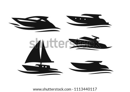Set of different boats and ships. Vector icon