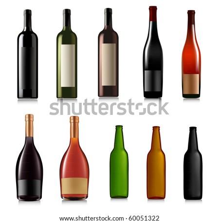 Set of different bottles. Vector illustration. #60051322