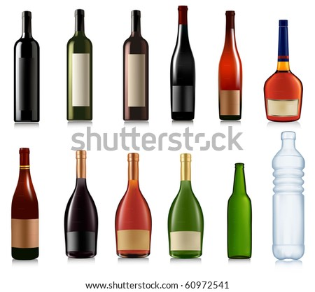 Set of different bottles. Vector illustration. #60972541