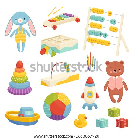 Set of different bright children's toys. Inventory for children's games and entertainment. Sports, plush, musical and logic toys ストックフォト ©