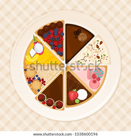 Set of different cake slices top view