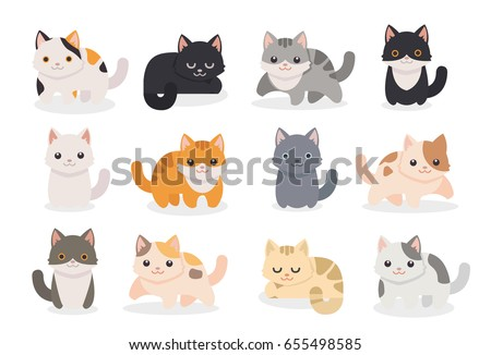 set of different cartoon cats