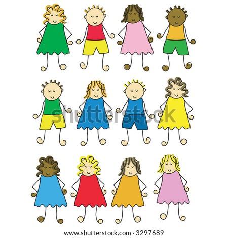 set of different cartoon children