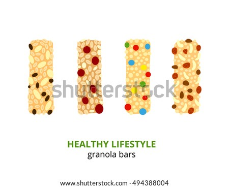 Set of different cartoon colorful granola bars isolated on white background.