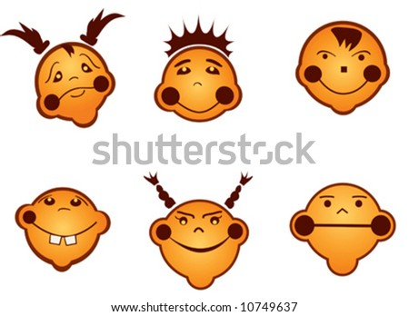 pictures of emotions faces for kids. cartoon kids faces, vector