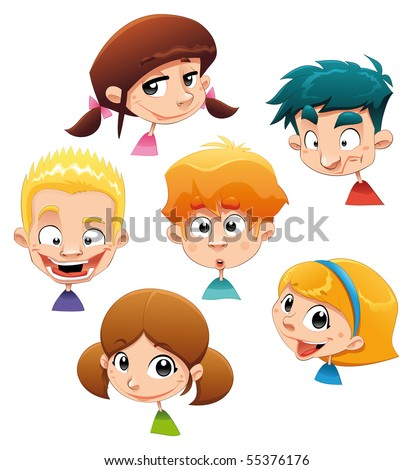 Set of different character expressions. Funny cartoon and vector illustration. Isolated objects.