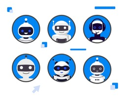 Set of different chat bot heads vector illustration Collection of cyborg characters Set of flat robot avatars for apps and games, web-design, media, social networks icons