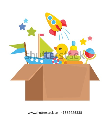 Set of different children's toys in a cardboard box. Order from the online baby store. Vector illustration in cartoon flat style. ストックフォト ©