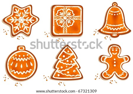 Set of different christmas cookie on isolated white background. Vector illustration.