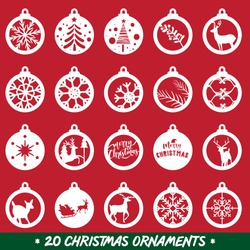Set of 20 different Christmas ornaments, Laser - CNC Ready, Christmas Holiday Collection Set, Vector - Illustration