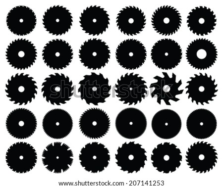 Set of different circular saw blades, vector illustration