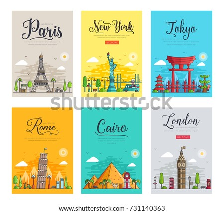 set of different cities for