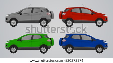 set of different color car ford
