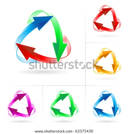 Set #2 of different colored arrow circles isolated on the white